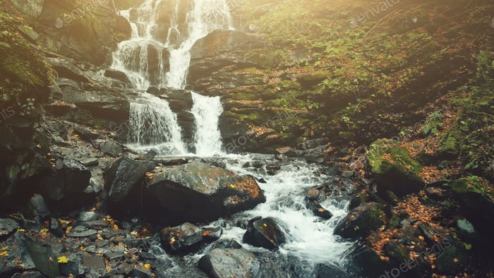 Highland slope waterfall brook golden autumn wood