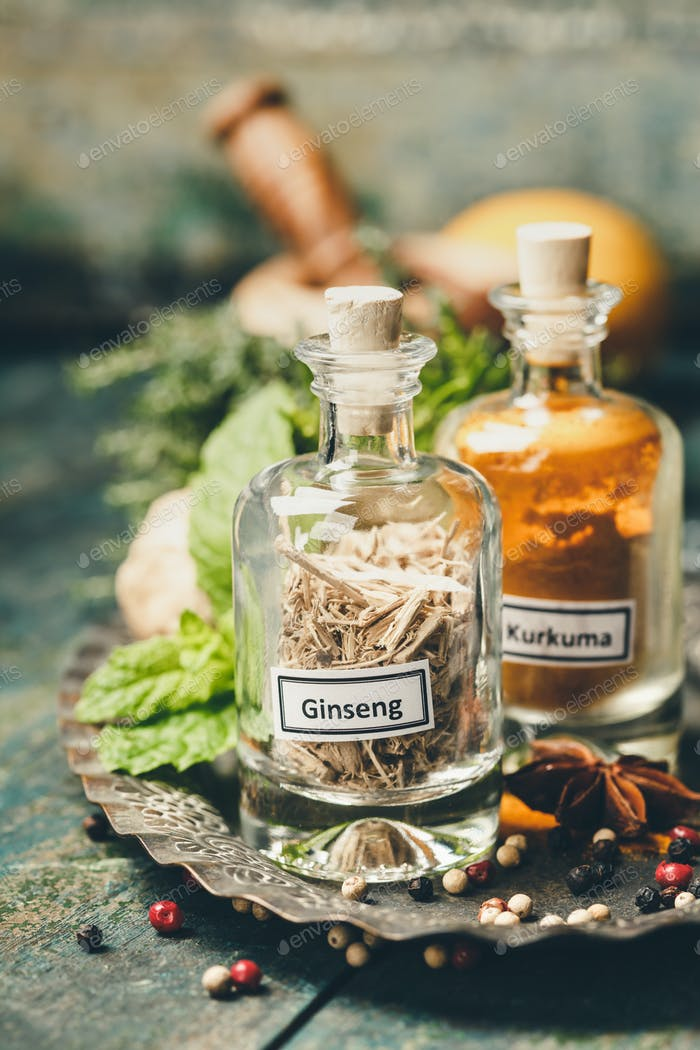 Herbs and spices selection, immune boosting natural food concept