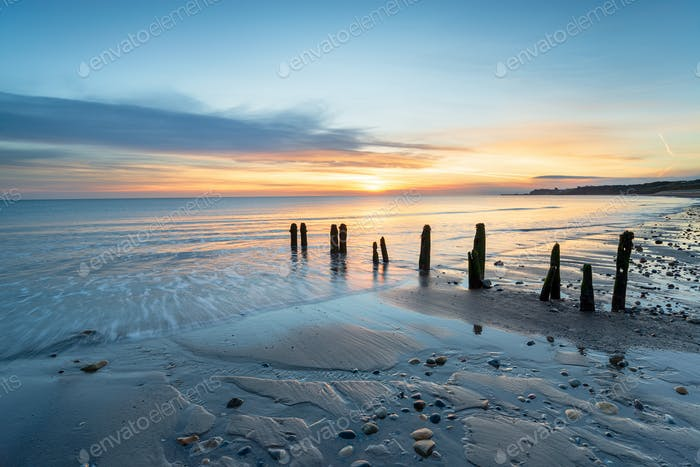 Sunrise am Sandsend Beach in Yorkshire