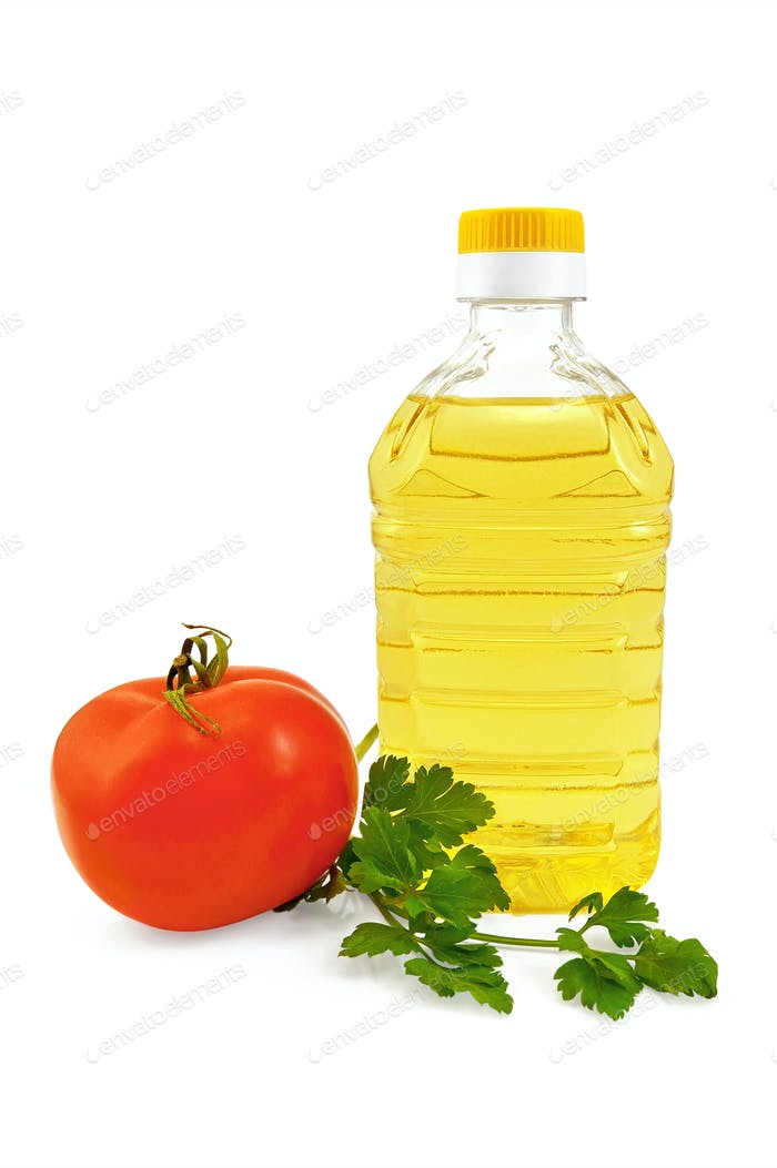 Vegetable oil with parsley and tomato
