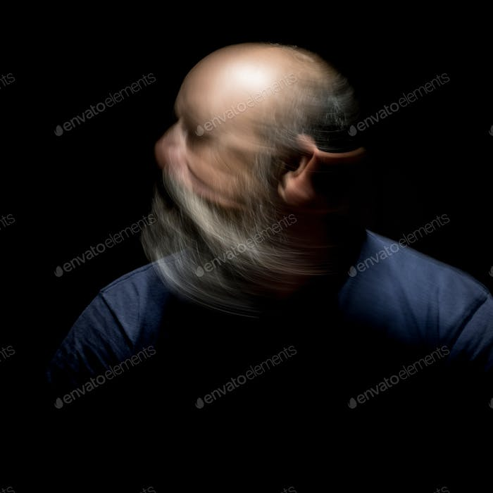 bearded man motion blur portrait