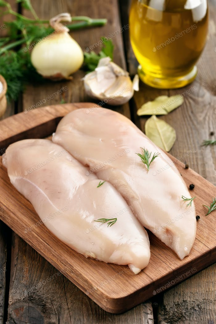 Raw chicken meat