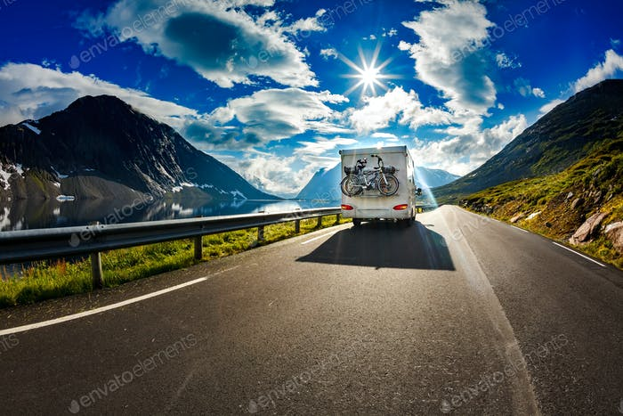 Caravan car travels on the highway.
