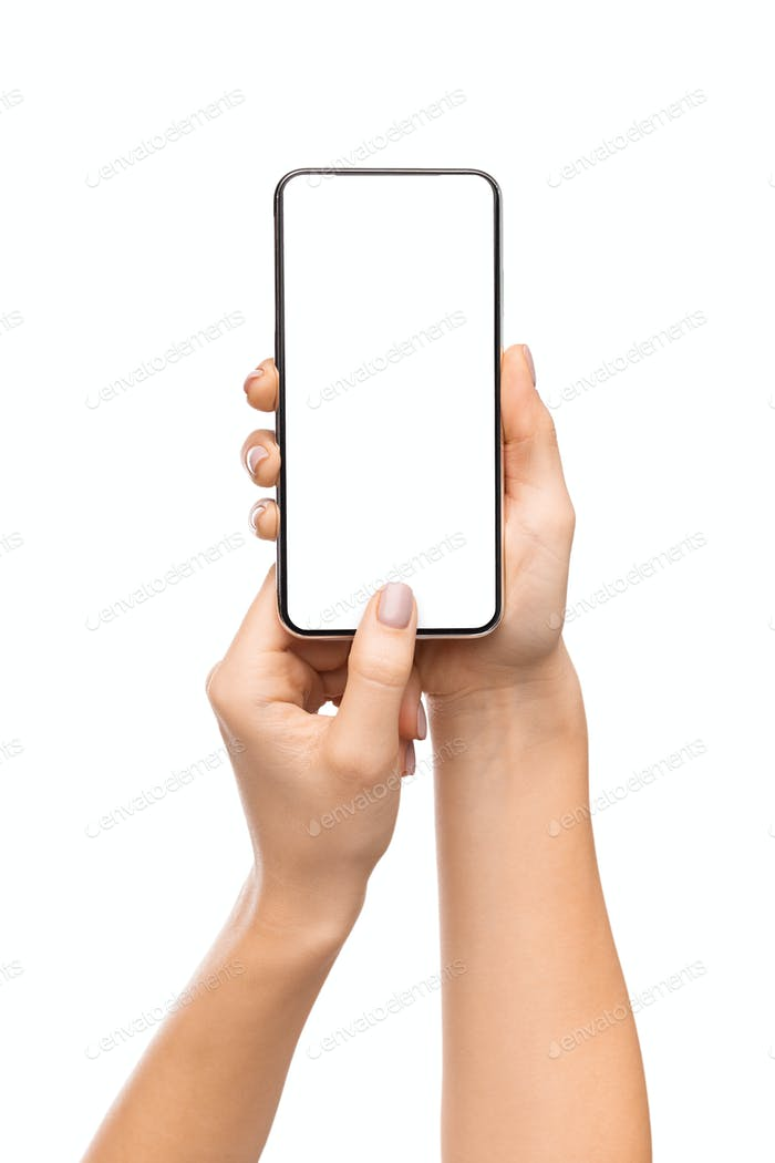 Woman holding smartphone with blank screen, scanning fingerprint