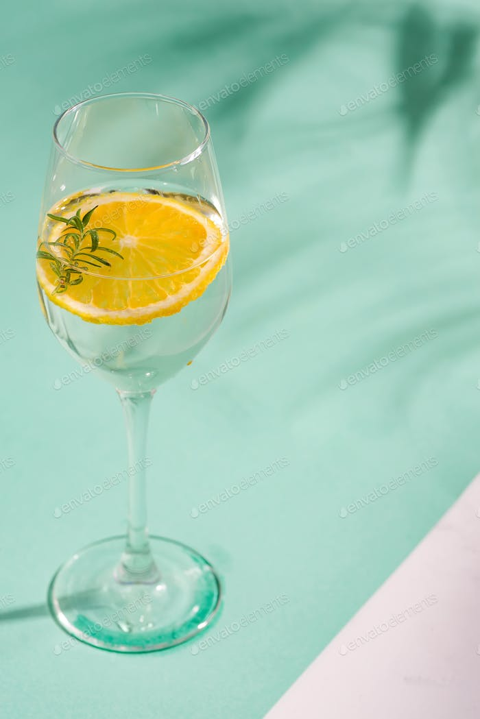 Summer homemade cold cocktail in a glass with lemon slice on a duotone background with leaf shadows