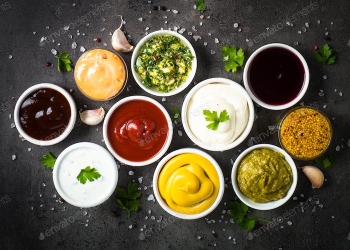 Sauce set assortment - mayonnaise, mustard, ketchup and others t