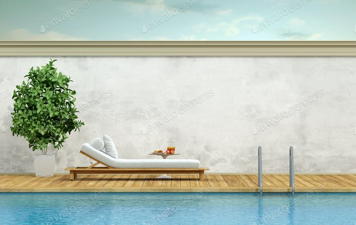 Swimming pool with chaise lounge