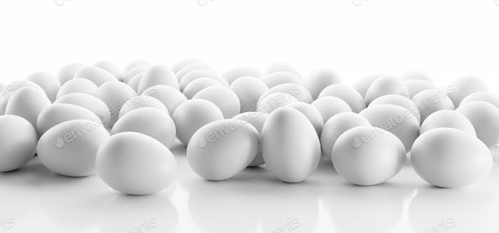 Huevos blancos sobre fondo blanco