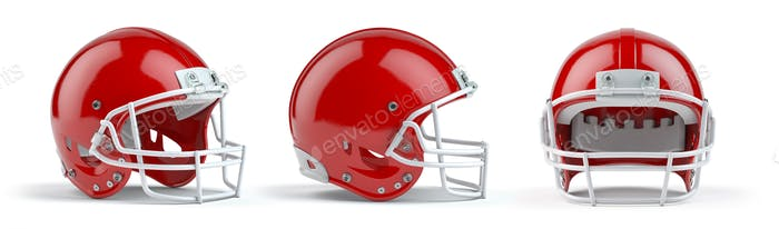Set of red  american football helmets isolated on white backgrou