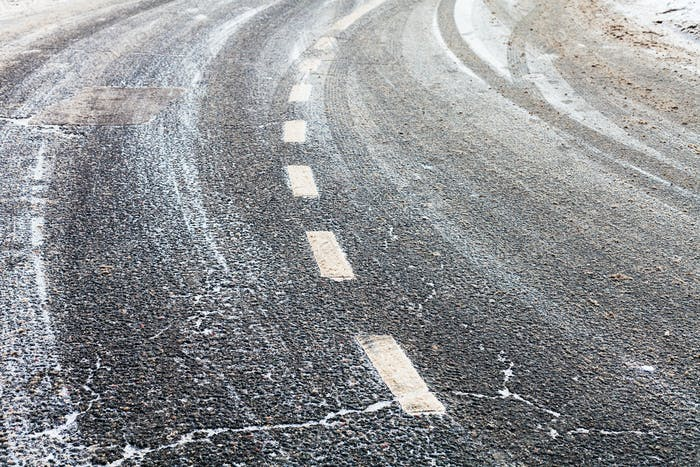 turn on a slippery frozen road in winter
