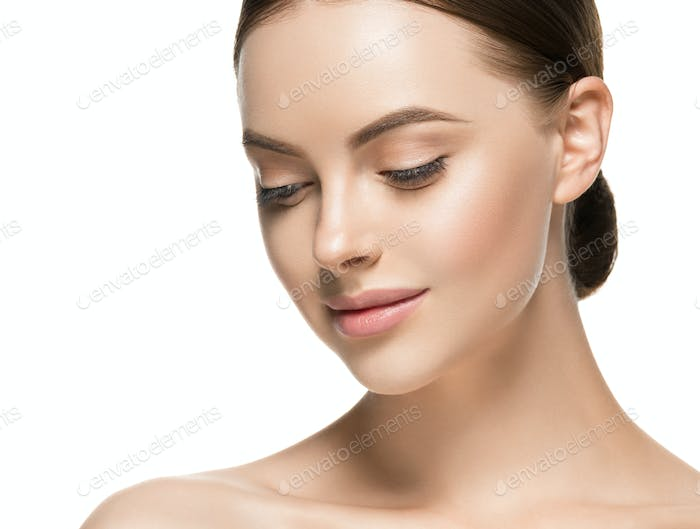 Woman with healthy hair skin coscmetic and beauty concept