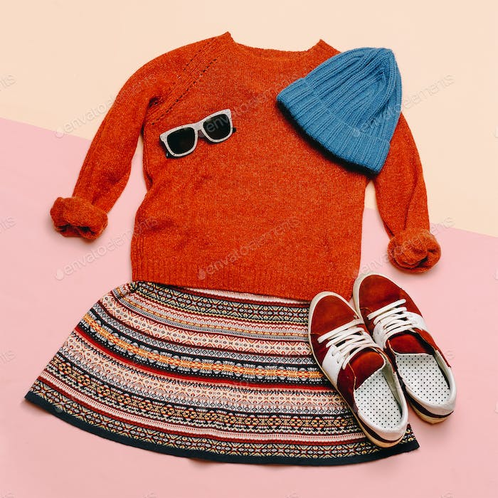 Stylish clothes set. City casual fashion. Spring. Dress and acce