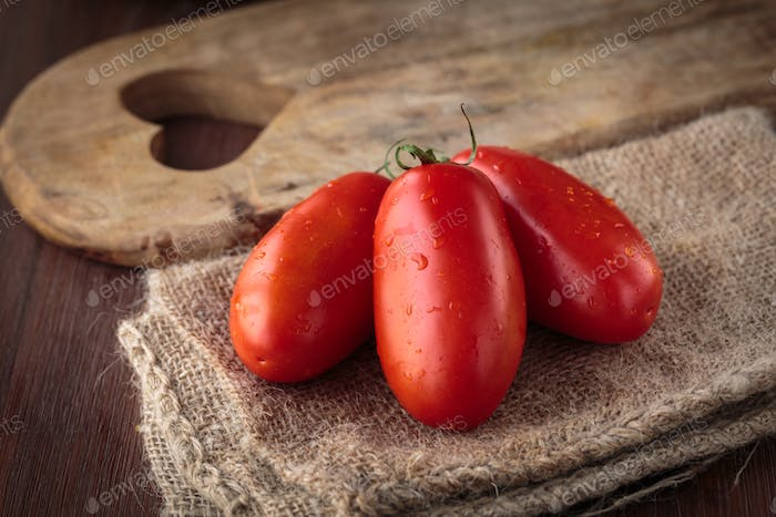 Fresh raw San Marzano tomatoes