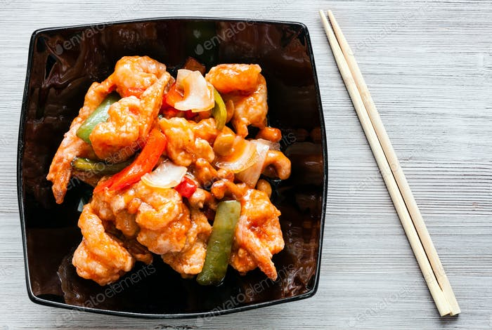top view of Shrimps Combo in bowl with chopsticks