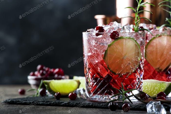 Refreshing drink with cranberries, ice and rosemary