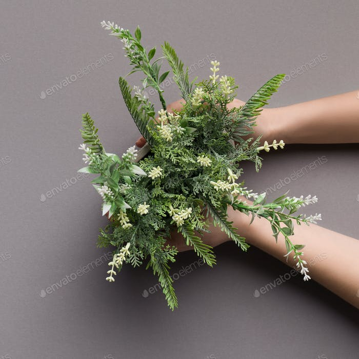 Artificial houseplant with white flowers in female hands