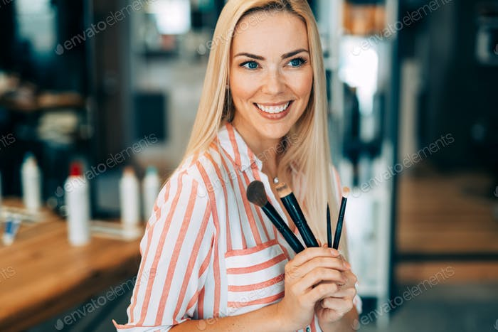 Make up , beauty woman face, brushes, portrait of attractive young girl
