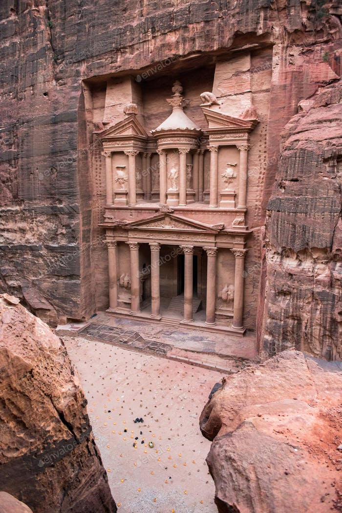 The Treasury. Petra, Jordan. Ancient stone carving made by the Nabatean civilization