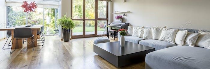 Villa interior with large sofa