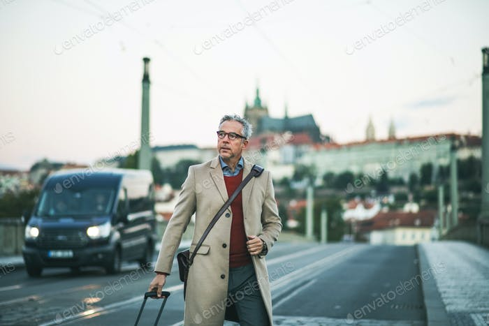 Mature businessman with suitcase walking on a bridge in Prague city.