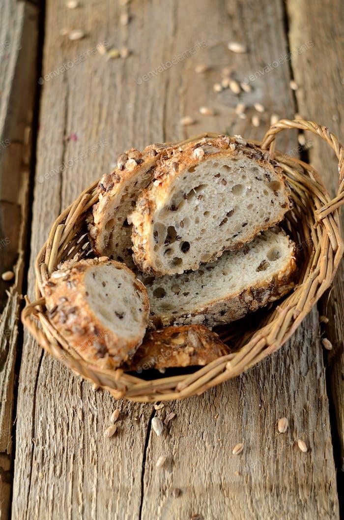 Slices of grain bread
