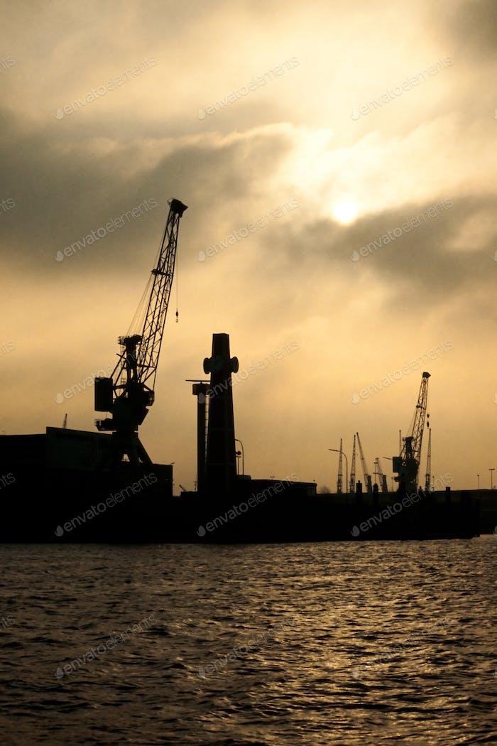 Hamburg harbor silhouette Germany Europe