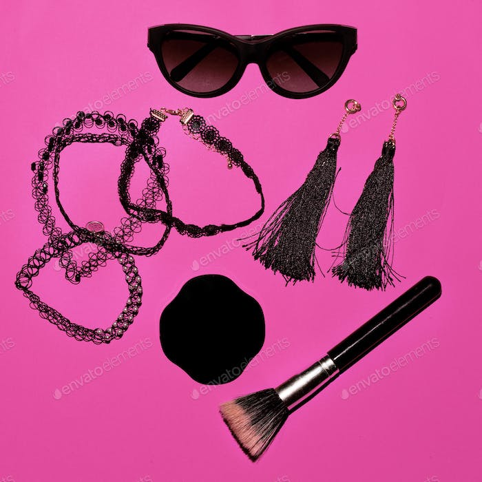 Trend. Style. Fashion concept. Be Lady. Set of make-up and sungl