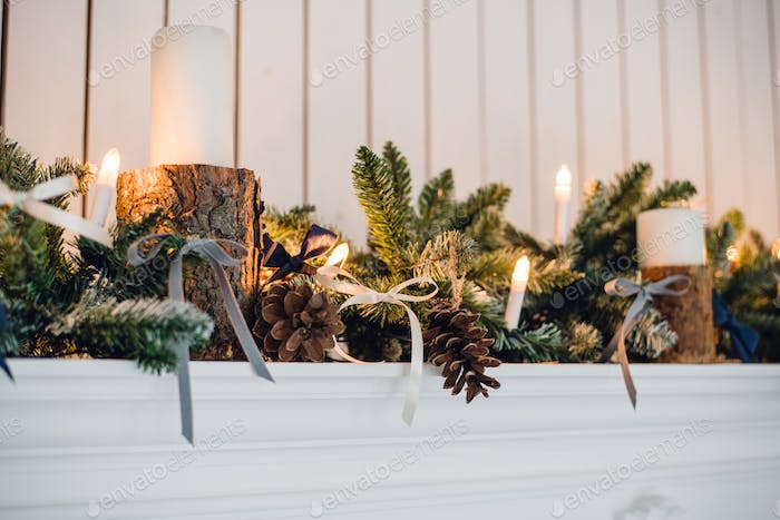 Christmas Fireplace, Xmas Lights Decoration, Tree Branches, candles and pine pieces