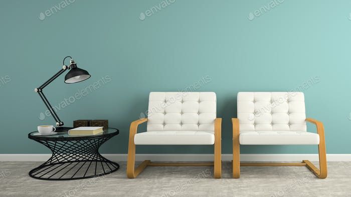 Part of  interior with two white armchair 3D rendering