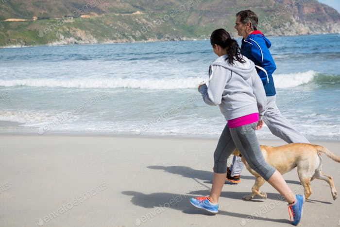 Couple jogging with pet dog