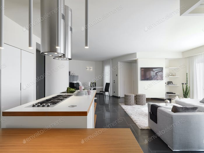 Interiors of the Modern Kitchen with Island Kitchen overlooks on the Living Room
