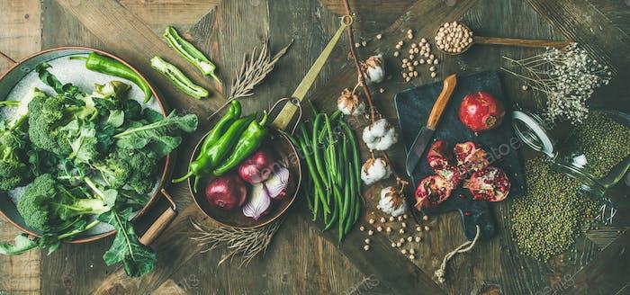 Winter vegetarische oder vegane Lebensmittel Kochen Zutaten, breite Zusammensetzung