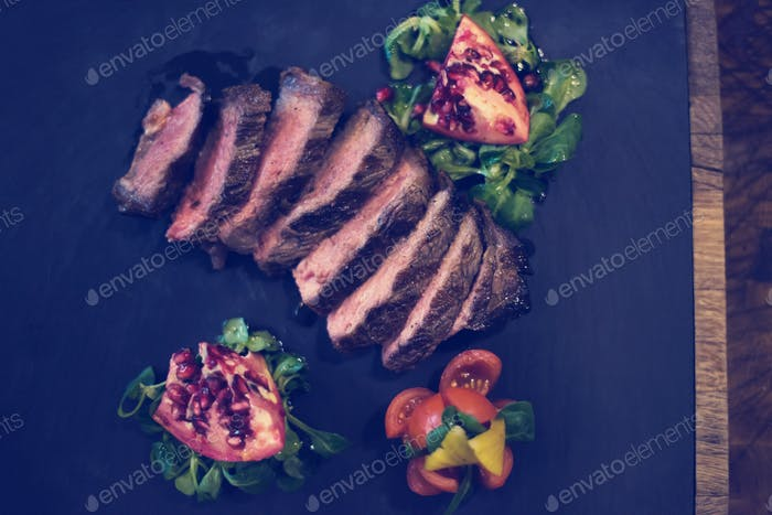 Juicy slices of grilled steak