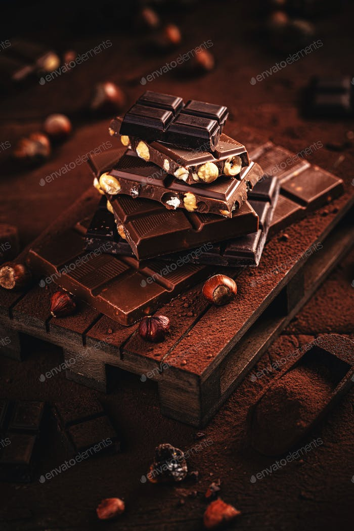 Chocolate pieces with hazelnut