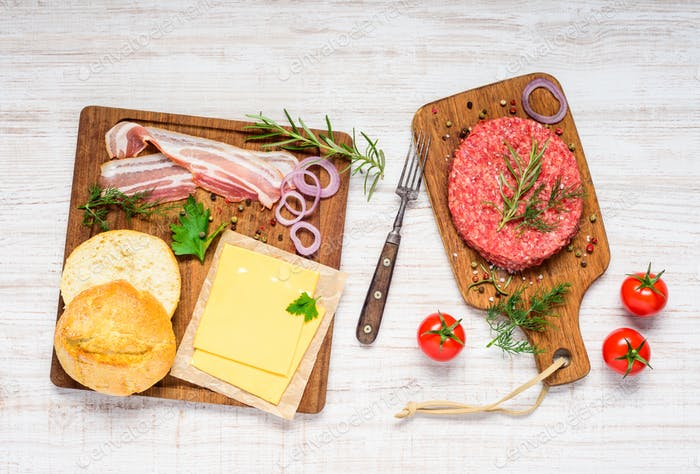 Burger Ingredients with Meat, Bread and Vegetables