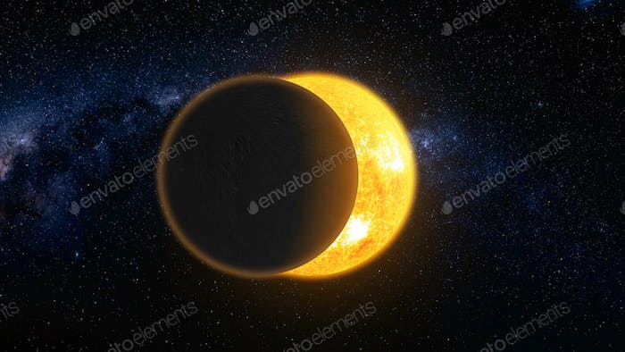 Total solar eclipse 3d: lunar silhouette art illustration. Epic cosmos scene in dark blue background
