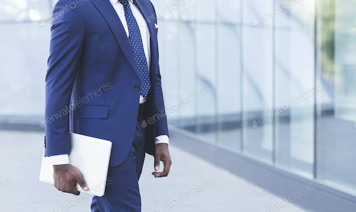 Unrecognizable Business Guy Carrying Laptop Going To Work, Cropped