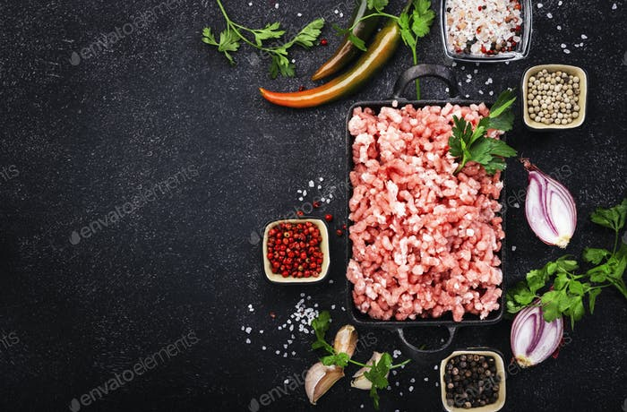 Mince, ground minced meat with ingredients