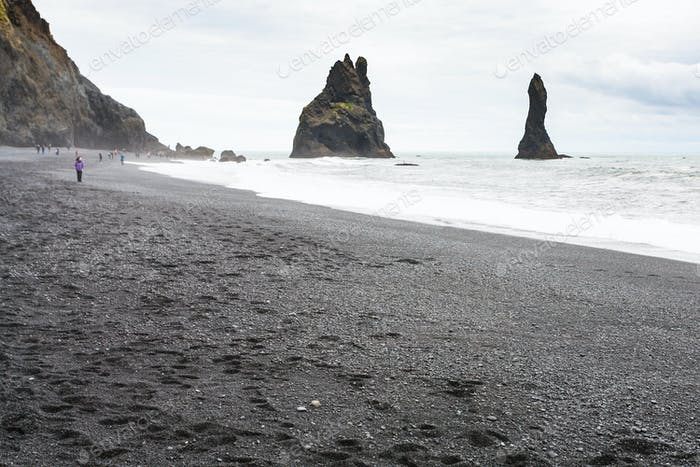 Reynisfjara Beach with Reynisdrangar stacks