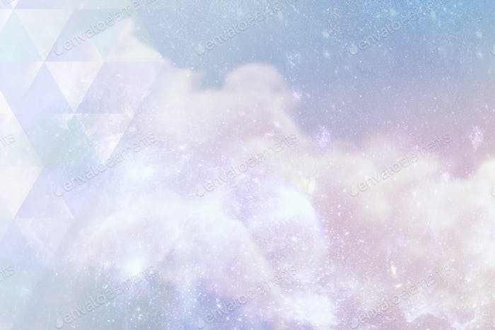 Triangle pattern on a pastel galaxy background illustration