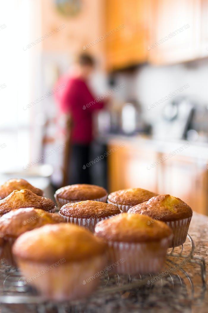 Batch of homemade freshly baked muffins