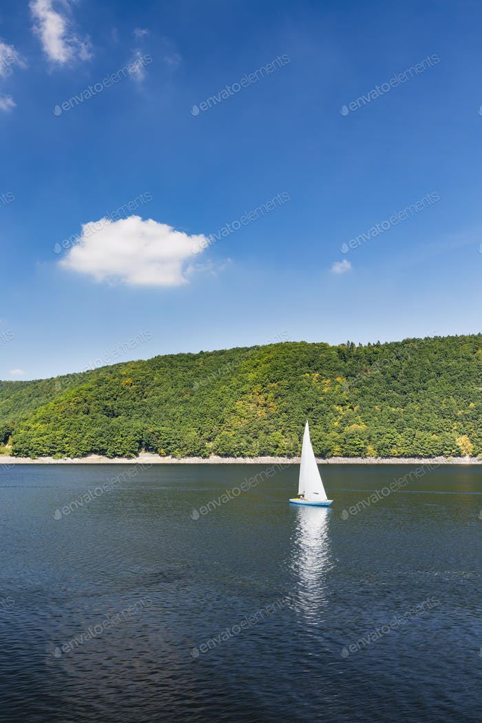 Sailboat On Lake Rursee, Germany
