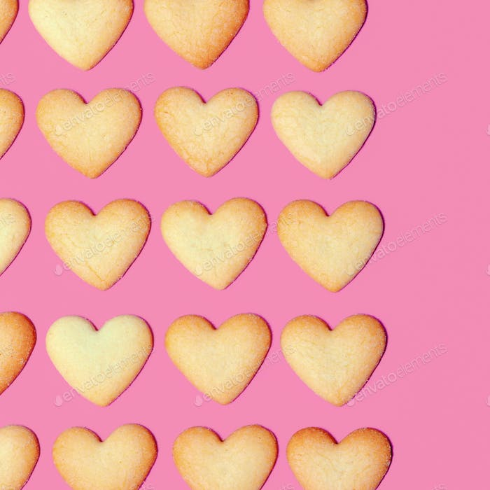 Hearts Cookies Minimal art design Candy colors