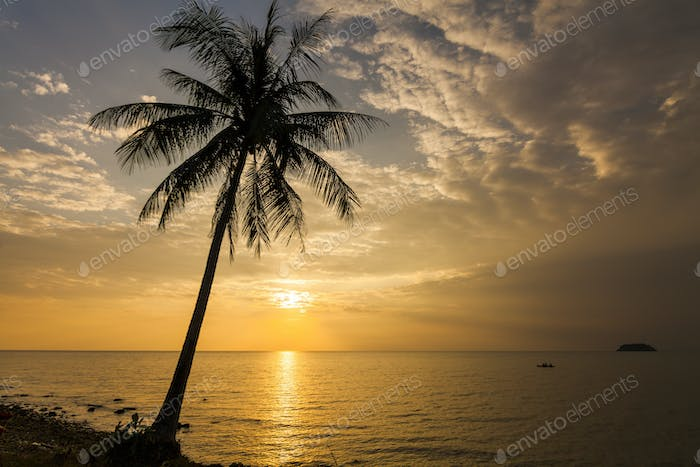 Romantic sunset over the beach. Koh Chang. Thailand
