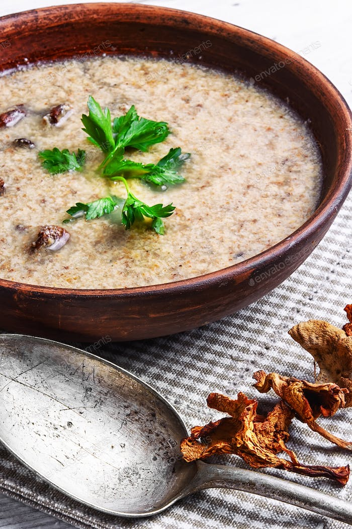 puree soup with mushrooms