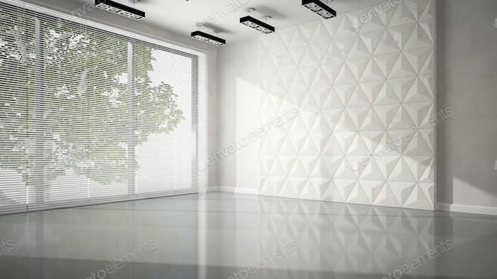 Leerer Raum mit weißer Paneelwand 3D Rendering