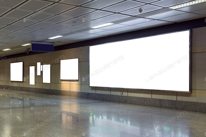 Blank billboard located in underground hall or subway for advertising, mockup