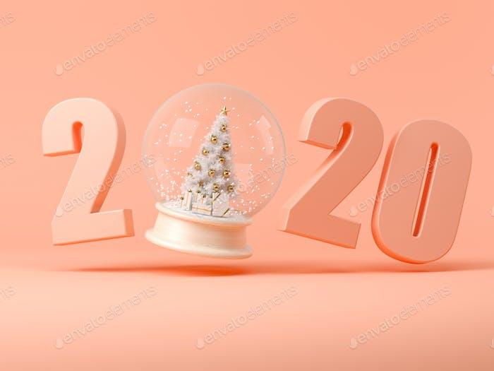 2019 numbers with snow ball 3D illustration