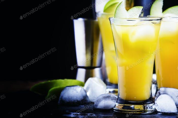 Cocktailapfelverführung mit Absinth, Sirup, Saft, Ginger Ale und Eis