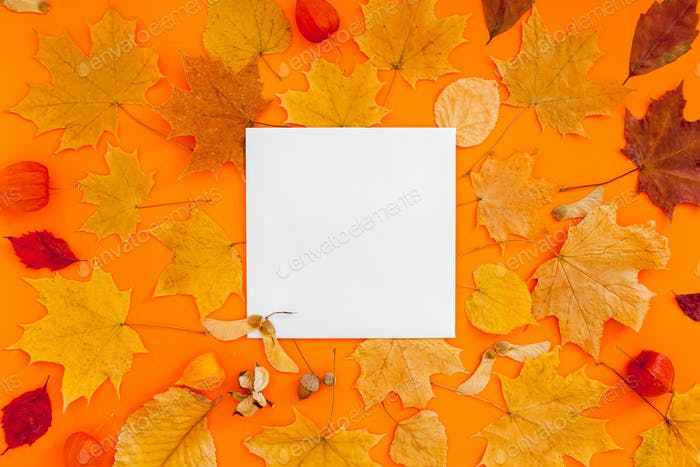 Autumn postcard mockup with fall leaves